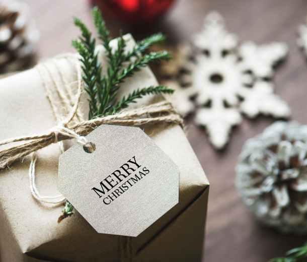 merry christmas gift box close up photo