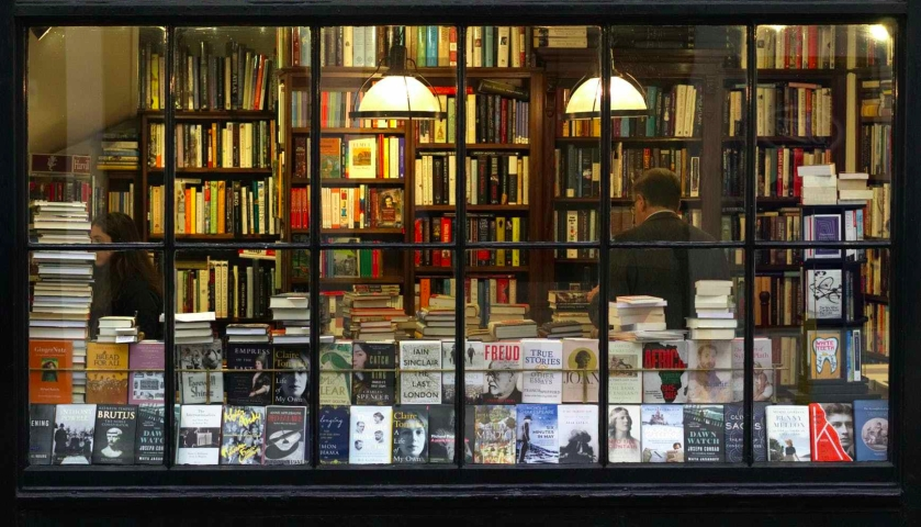 image through bookstore window
